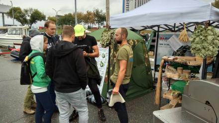 Бани отапливаемые зимние палатки Мобиба на выставке ActiveExpo Fest 2018. Киев, Украина