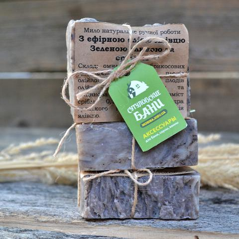 Купить Натуральное мыло ручной работы с эфирным маслом Можжевельника, зеленой глиной и серебром. Украина доставка Киев. Экологически чистое мыло для бани, сауны, косметических процедур