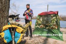 Банный туризм с велосипедом. Мини баня Мобиба Украина для походов, для дачи